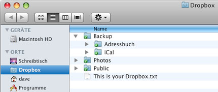 Backup-Ordner in Dropbox