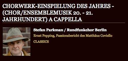 Rundfunkchor Berlin ECHO Klassik 2009 Pepping