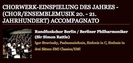 Rundfunkchor Berlin ECHO Klassik 2009 Stravinsky