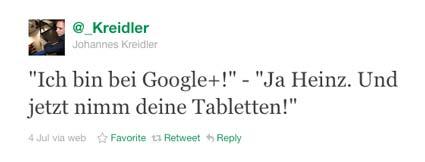 Google+-Tweet Johannes Kreidler
