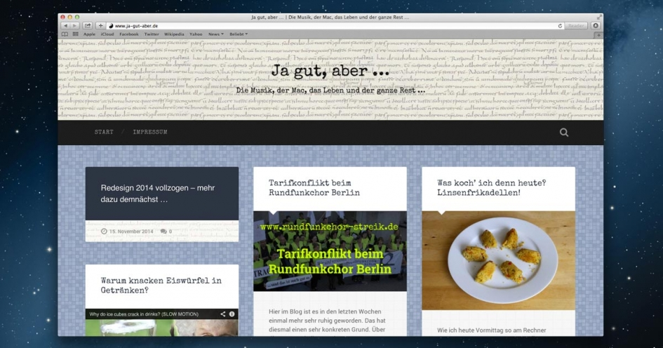 Redesign 2014 im Blog 'ja gut, aber …'
