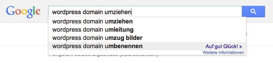'wordpress domain umziehen' – Google-Suche