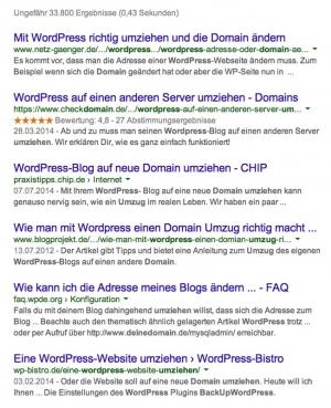 'wordpress domain umziehen' – Google-Suchergebnis