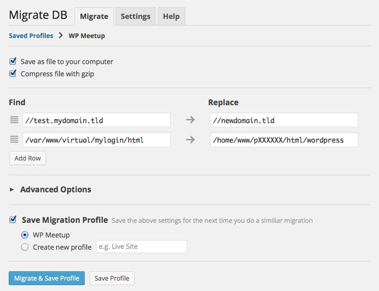 Screenshot WP Migrate DB