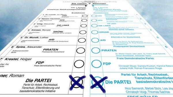 Stimmzettel für Die PARTEI